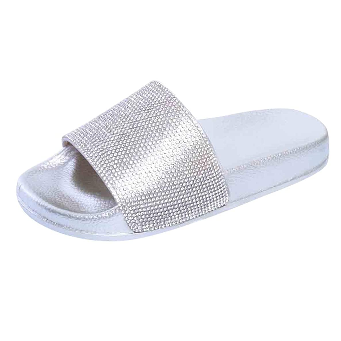 Boomboom Summer Sandals, Women Wide Width Sequins Flat Slides Sandals Diamond Slippers