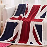 House British Union Jack Fleece Blanket Soft Sherpa Throw Blanket Lightweight Cozy Warm Blanket for Couch Bed Chair Office Sofa - 51x63Inch