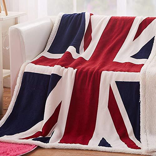 Boruiann - Coperta in pile super morbida con bandiera degli Stati Uniti, coperta leggera e calda, per divano, letto, sedia, ufficio, divano – 129,5 x 160 cm, Union Jack, 51x63Inch