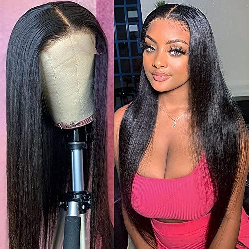 PORSMEER Lace Frontal Femme Perruque Bresilienne lisse Perruques Naturels Perruque de cheveux synthétiques Yaki Densité de 150% pour Femme Noire Couleur Naturelle (22Pouces)
