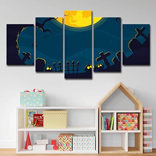 lijuan store 5 Panel Leinwand Moderne HD Print Bild Wohnzimmer Schlafzimmer Dekoration Malerei 75 cm Halloween Spinne Grabstein