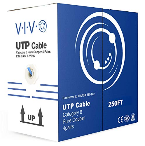 VIVO Blue 250ft Bulk Cat6, Full Copper Ethernet Cable, 23 AWG, UTP Pull Box, Cat-6 Wire, Indoor, Network Installations CABLE-V016