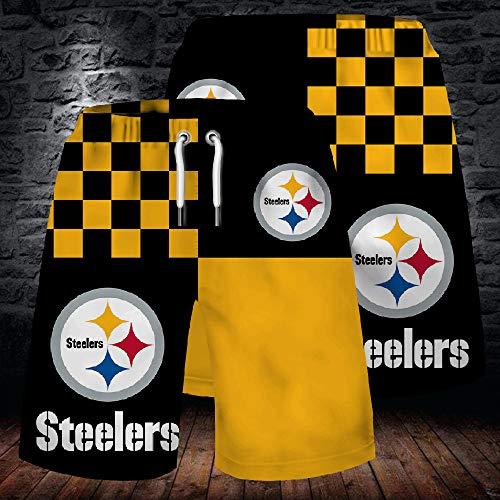 NFL Sommer Herren Shorts, Pittsburgh Steelers Strandhose, 3D gefärbte und gefärbte atmungsaktive Stretch Sporthose für Outdoor Training und Laufen