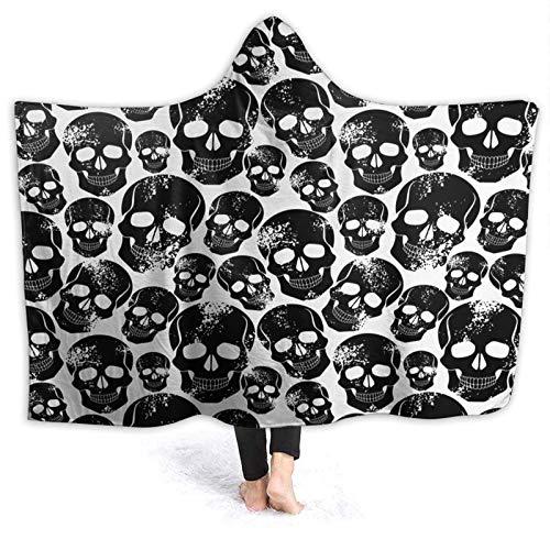 HARXISE Tragbare Hoodie Decke,Grunge Black Human Skulls auf weißem Hintergrund Evil Men Fear Horror Death...
