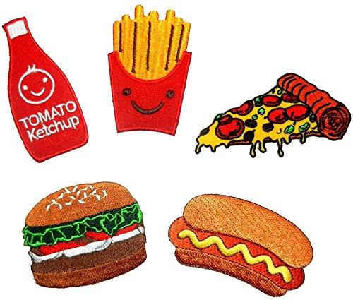 i-Patch - Patch - 0002 - Fast-Food - Pizza - Patatine fritte - Badges - Hamburger - Ketchup - Hot Dog - ricamo - Adesivo - Applicazione - Toppa - da cucire - da applicare con il ferro da stiro