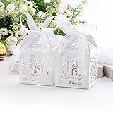 Veewon 50 Stück Hochzeit Süßigkeiten Box Geschenkbox Taufe Gastgeschenk Kartonage Schachtel...