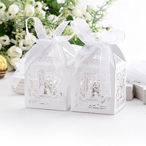 Veewon 50 Stück Hochzeit Süßigkeiten Box Geschenkbox Taufe Gastgeschenk Kartonage Schachtel Tischdeko Bonboniere Box Hochzeit Dekoration
