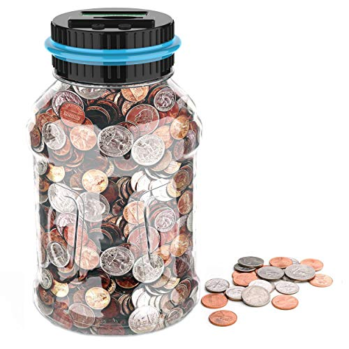 GIFTiz Large Digital Coin Counting Money Saving Jar Change Counter Piggy Bank for Kids & Adults - Blue | Supports All US Coins - Pennies, Nickels, Dimes, Quarters, Half Dollars, & Dollar Coins