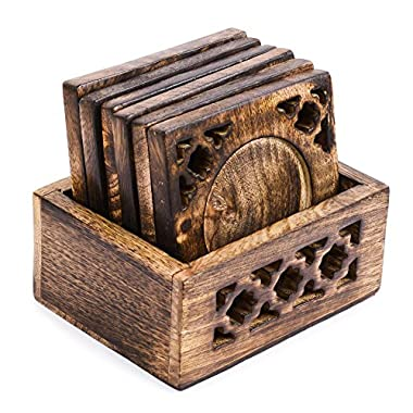 Rusticity Wood Coaster Set of 6 with Holder for beer and other drinks - antique design | Premium Quality | Handmade | (4.8x4 in)