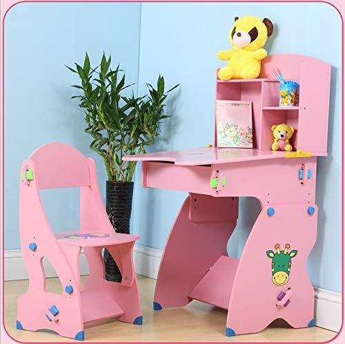 子供のデスクチェアセット高さ調節可能な多機能リフトデスクテーブル102 * 54.5 * 61椅子73 * 30 * 34 (Color : Pink)