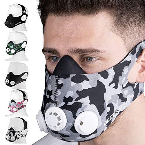 Geez Trainingsmaske für Ausdauertraining inkl. Wiederstandskappen für 6 Intensitätsstufen (Camo)
