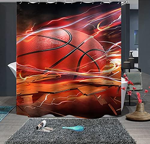 JOVEGSRVA Cortina de ducha de tela a prueba de moldes de baloncesto de dibujos animados para baño impermeable cortina de baño con 12 ganchos
