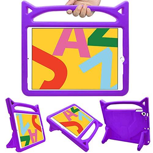 HBorna iPad 10.2 Case Kids, iPad 7th Generation Case Kid, Shockproof Light Weight Handle Friendly Stand Kids Case for New iPad 10.2' 2019, iPad Air 3, iPad Pro 10.5 (Purple)