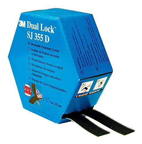 3M Dual Lock SJ457D, Sistemas de cierre reposicionable - Mitad de espesor que los sistemas de unión desmontable Dual Lock para fijaciones de bajo perfil - 2 x 25mm x 5m, translúcido, 2.5mm (1