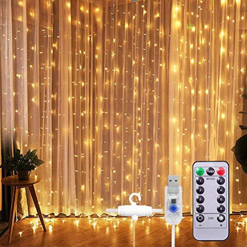 LED Lichtervorhang, Kelisidunaec 3M × 3M 300 LEDs USB Lichterkettenvorhang mit 8 Modi Fernbedien IP68 Wasserfest, LED Sterne Lichterkette für Weihnachten, Hochzeit, Party, Schlafzimmer Deko