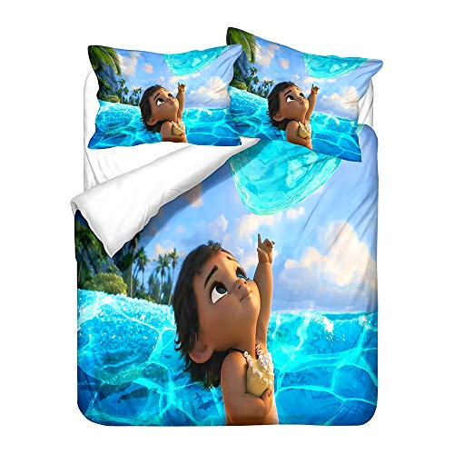 NICHIYO Moana Duvet Cover Bedding Set and Pillowcase Polyester Fibre Microfibre 3D Digital Print Three-Piece Bedding (Duvet Cover + Pillowcases) (20, King 220 x 240 cm)