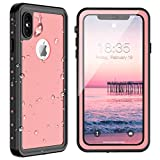SPIDERCASE for iPhone Xs Max Waterproof Case 6.5 inch 2018, Dustproof Snowproof Shockproof, iPhone Xs Max Case with Built-in Protector Full Body Rugged Cover for iPhone Xs Max (Pink)