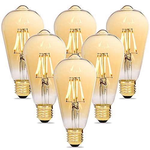 Alampia Edison Vintage Glühbirne, LED Dimmbar E27 Lampe, 4W 2200K Warmweiß Licht, Ersazt 40W Halogenlampen, Dekorative Antike Glühbirne für Nostalgie und Retro Beleuchtung im Haus Café Bar, 6 Stück