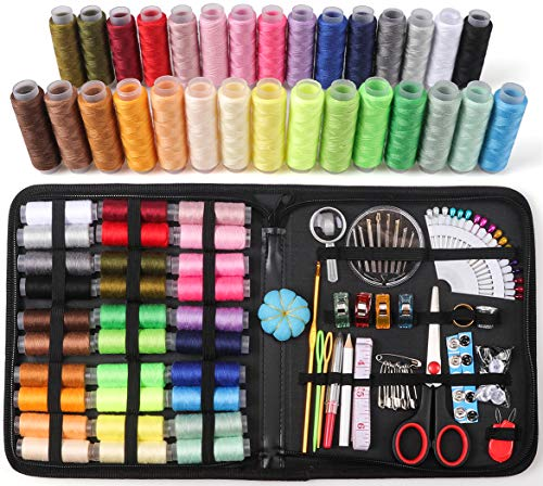 Sewing Kit, 135 Pack Sewing Accessories with 30 120 Yard Spools of Thread, Sewing Emergency Kit with Buttons for Adults, Beginners, Travelers and Girls, Perfect for DIY and Repairing (L1)