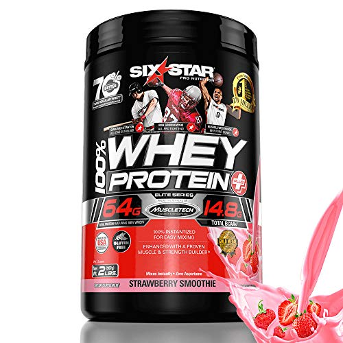 Whey Protein Powder | Six Star 100% Whey Protein Plus | Whey + BCAA + Creatine Monohydrate | Post Workout Muscle Recovery & Muscle Builder Protein Shakes for Men & Women | Strawberry, 2 lbs