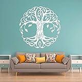 Calcomanías de pared de vinilo de árbol decoración del hogar gimnasio yoga árbol pegatinas de pared vida árbol yoga estudio pintura de pared 110X110CM blanco