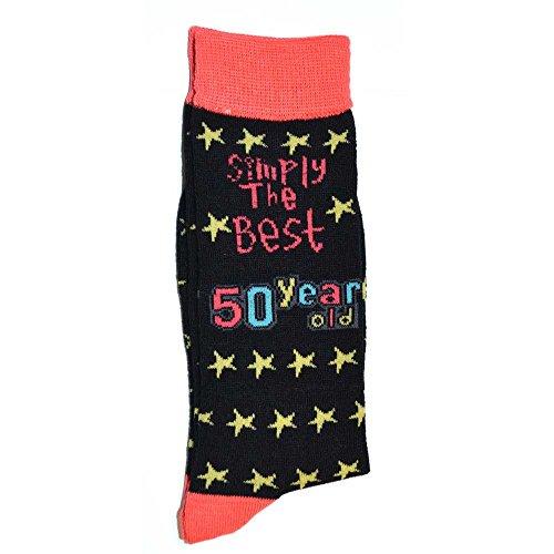 SHATCHI 50e verjaardag gewoon de beste 50 jaar oude gift nieuwigheid sokken cadeaus voor hem haar mannen vrouwen, zwart, een maat