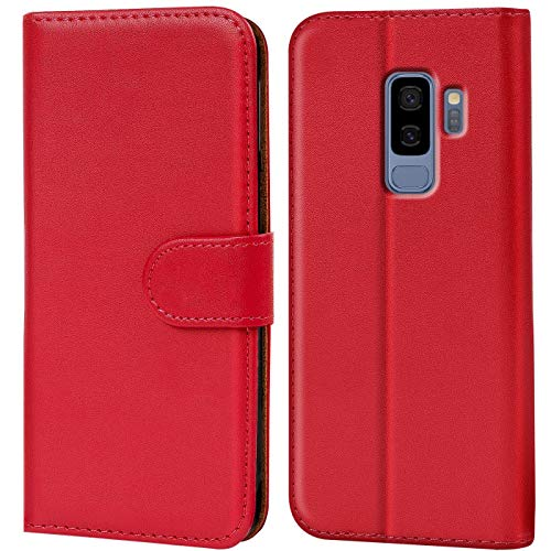 Verco Galaxy S9 Plus Hülle, Handyhülle für Samsung Galaxy S9+ Tasche PU Leder Flip Hülle Brieftasche - Rot