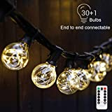 G40 Dimmable Globe String Lights Remote, 30LED Bulbs 32.8ft...