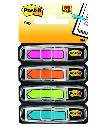 Post-it 684ARR4 Index Pfeile (4 x 24 Haftstreifen im Spender, 11,9 x 43,2 mm) pink, orange, limonengrün, aquablau