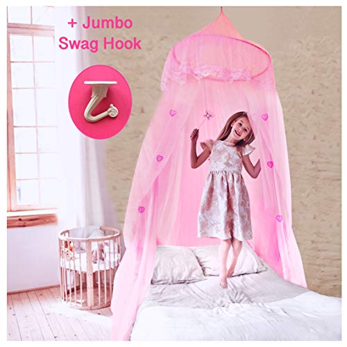 EVEN NATURALS Princess Bed Canopy for Girls, with Lace Dome & Hearts (Easy Hanging System), Birthday Gift, Mosquito Netting for Crib up to Twin Size Girls Bed