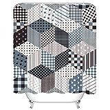Set di tende da doccia Plaid Grigio Cubi Stelle da toppe Patchwork Toni grigi Interior Design Tessuto in Poliestere Decor con 12 ganci Impermeabile lavabile 12 asole per bagno