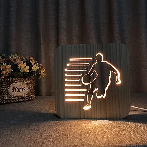 Luz De Noche Lámpara De Mesa Usb Con Forma Hueca De Madera Led 3D Con Forma De Baloncesto Para Jugar, Decoración De Dormitorio, Regalo Para Niños
