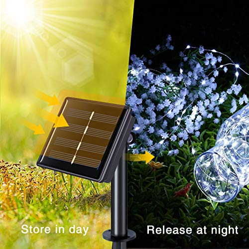 JMEXSUSS 2 Pack 33ft 100 LED Solar Fairy Lights Outdoor Waterproof, Silver Wire White Solar String Lights, 8 Lighting Modes Decoration Solar Christmas Lights for Patio Wedding Party Tree Garden