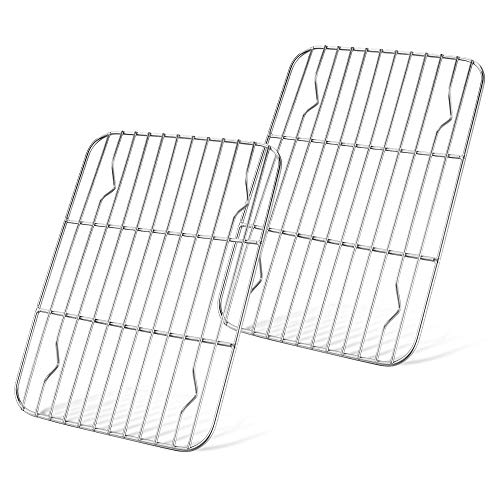 Baking Cooling Racks Set of 2, Stainless Steel Cooling Rack, Small Cookie Racks, Rectangle 6.3' x 8.6', Fit Quarter Sheet Pan, Cooking Racks for Toaster Oven, Frying, Roasting - Oven & Dishwasher Safe