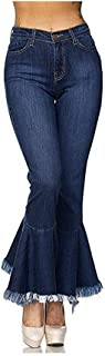 Women's Fashion Bell Bottom Pants High Waist Tassel Stretch Curvy Fit Jeans Blue