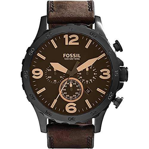 Fossil Men's Nate Quartz Stainless Steel and Leather Chronograph Watch, Color: Black, Dark Brown (Model: JR1487)