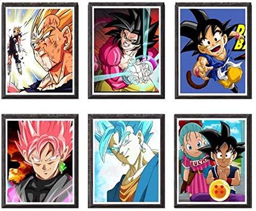 YEAHTOPE Lote de 6 impresiones artísticas Dragon Ball GT, Goku SSJ, Vegeta, 8 x 10 pulgadas, sin cuadro