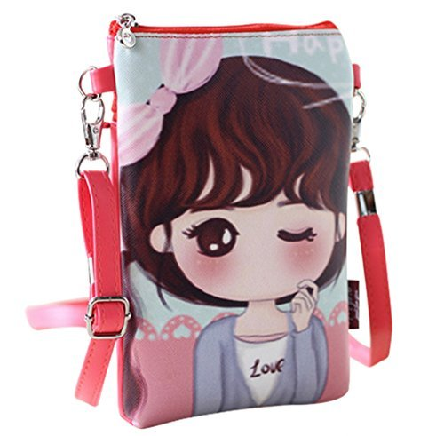 Naovio Cute Cartoon Mini Shoulder Bag Wallet Purse Cell phone Pouch with Adjustable Strap for Teens Girls Kids Students,Red
