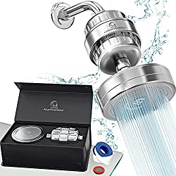 AquaHomeGroup Luxury Filtered Shower Head w/ 15-Stage Filter (AHG12S) best shower fitler for hair loss, skin, nails