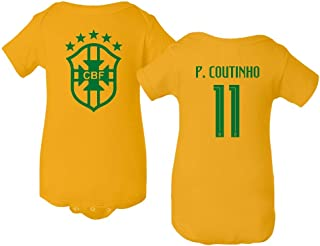 Tcamp Soccer Brazil #11 P. Coutinho Copa America Baby Bodysuit