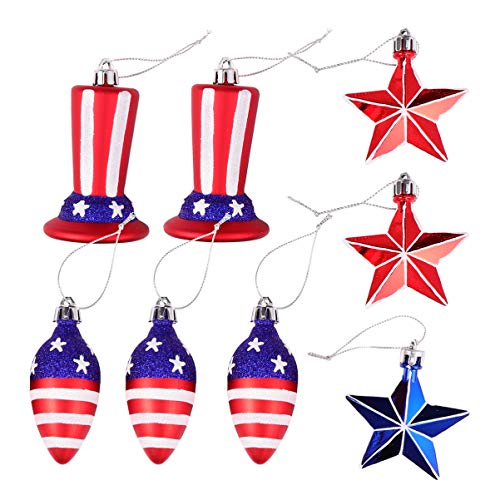Amosfun 7pcs Christmas Tree Ball Ornaments 4 July Patriotic Ball Hanging Pendant Christmas Tree Ornaments for Christmas Holiday Wedding Tree Decoration 7.2X5.3X5.3CM Specially shaped 7-piece set.