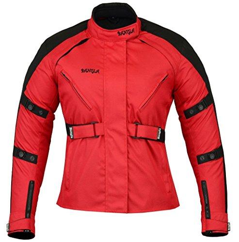 XXXL Ledershop-online B-103 Bangla Sportliche Damen Motorradjacke Touren Jacke Textil Schwarz-rot S