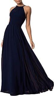 Aofur Womens Sleeveless Party Wedding Dresses Evening Cocktail Prom Gown Summer Chiffon Maxi Dress