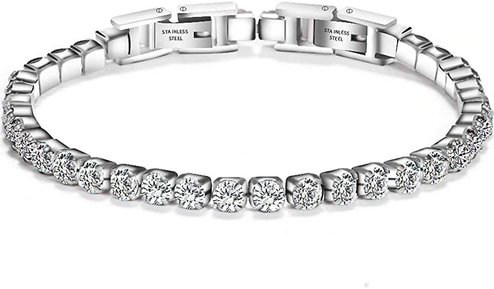 Jude Jewelers Stainless Steel Cubic Zircon Eternity Wedding Statement Strand Link Bracelet