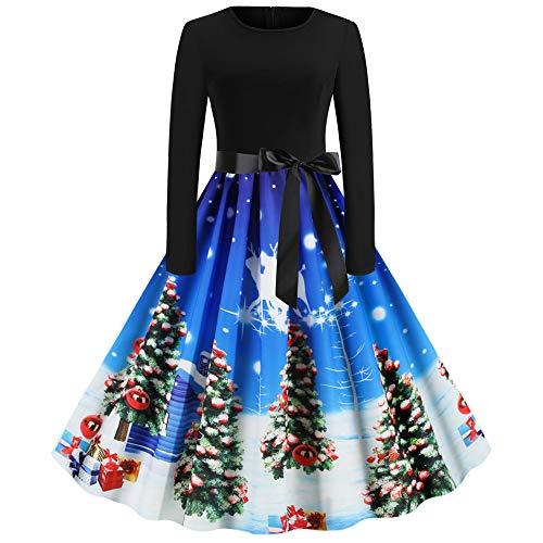 FZ FUTURE Kleid Damen Weihnachten Drucken, Vintage Weihnachtskleid, Schaukel Kleid Rock Kleider Party Swing Kleid Club Festival Karneval, Kleid Karneval Kostüme Dress Kleid,H,M