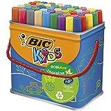 BIC Kids Visacolor XL rotuladores Punta Gruesa - Colores surtidos, Caja de 48 unidades – rotuladores lavables para niños, certificados con etiqueta ecológica, material escolar