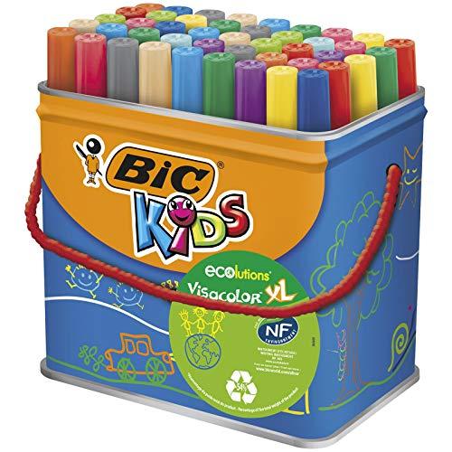 BIC Ecriture Kids Visacolor XL Feutres de Coloriage à Pointe Large - Certifiés NF Environnement - Couleurs Assorties, Pot de 48