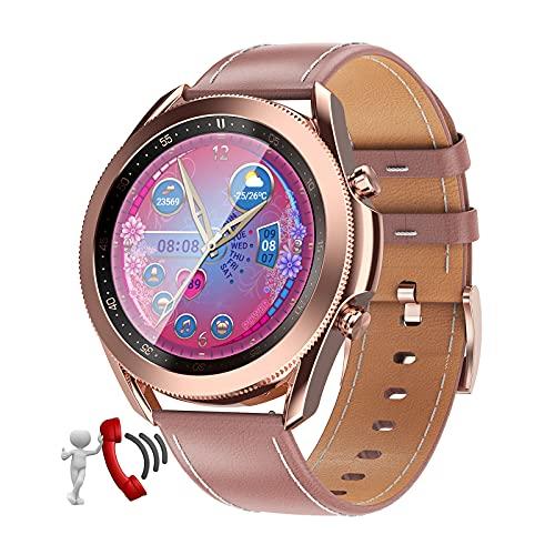 QFSLR Smartwatch Reloj Inteligente con Llamada Bluetooth Monitor De Frecuencia Cardíaca Monitor De Presión Arterial Monitoreo De Oxígeno En Sangre Reloj Deportivo,Rosado