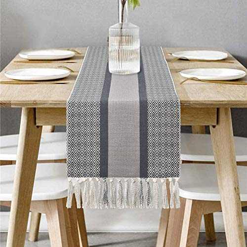 Bateruni Dark Grey Table Runner, Geometric Striped Heatproof Table Runner, Non-Slip Table Cloth for Dining Room Party Banquet Polyester 71x14 Inches