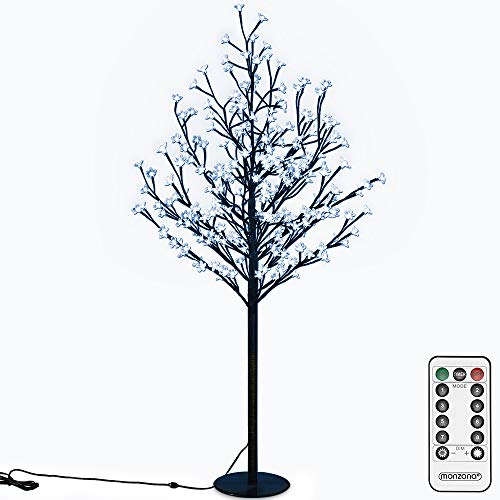 Deuba Lámpara cerezo de 200 LEDs luz azul decoración interior exterior con mando y temporizador 8 modos 180 cm flores